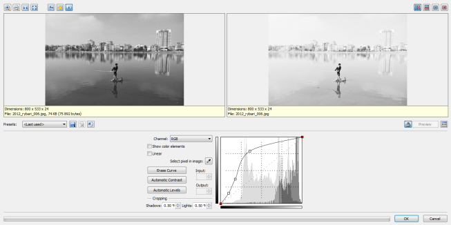 Histogram curve editing makes it easy to manipulate overall brightness