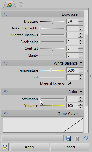 Reducing Saturation on the side panel…