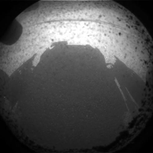 One of the very first photographs that the rover sent from Mars. It shows Curiosity's own shadow. Photo: NASA/JPL-Caltech.