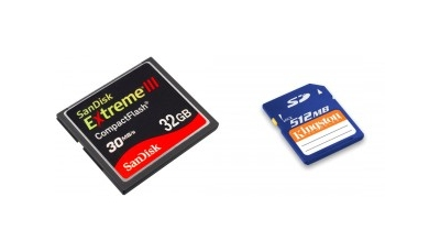 CompactFlash memory card on the left. SD format on right.