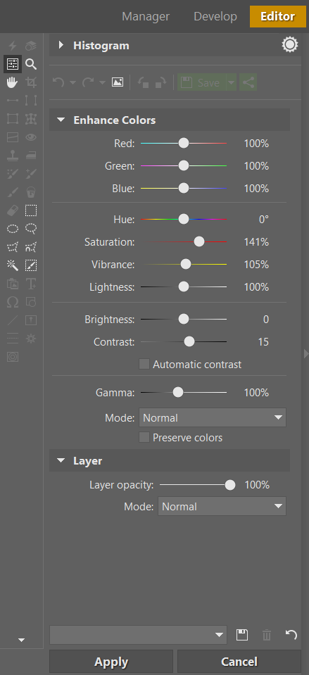 Use Filters (F) in the side panel or use the Adjust menu—both in the Editor—to reach Enhance Colors. Play with the color contrast and saturation, and adjust other values here if needed.