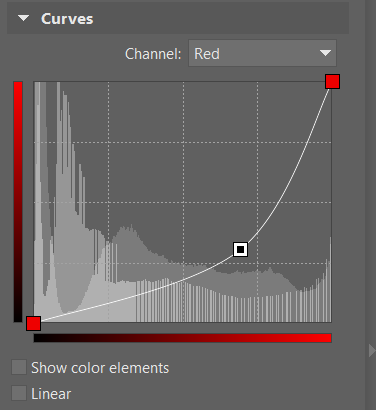 This shape for the red channel's curve has changed some red tones to blue.