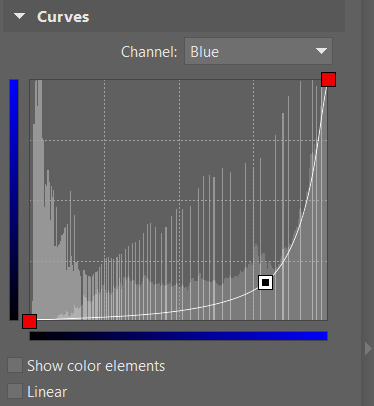 This curve shape in the blue channel has moved the blue tones in the picture towards yellow. To see the changes, move the slider between the two images.
