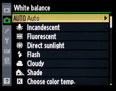 The white balance presets in a Nikon camera.