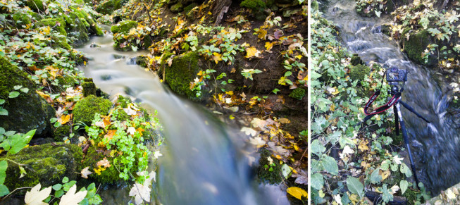 A photo of a stream among the moss. On the right, a documentary shot of the tripod standing in water. Canon 5D Mark III, EF Canon 16–35 mm f/2.8 II USM, 15 s, F22, ISO 100, focus 16 mm. Photo: Vít Kovalčík