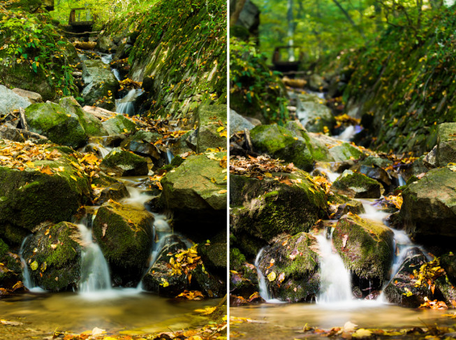 On the left: an ordinary photo with F22 and a time of 15 seconds (70 mm focus). On the right: a polarizing filter pair has enabled a shot at F2.8 with a time of 10 seconds (75 mm focus). Canon 5D Mark III, EF Canon 70–200 mm f/2.8 II IS USM. Photo: Vít Kovalčík