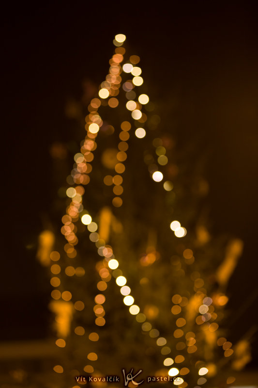 An outdoor Christmas tree, from a distance. Canon EOS 5D Mark II, EF Canon EF 70–200 mm f/2.8L II IS USM, 1/13 s, f/2.8, ISO 800, focus 125 mm. Photo: Vít Kovalčík