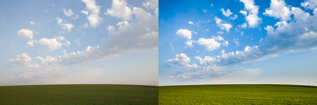 Before and after. Some saturation and sharpness was added to the clouds, and a digital gradient filter was applied to darken the sky so it wasn't brighter than the grass. Canon 5D Mark II, EF Canon 16–35 mm F2.8 II USM, 1/100 s, F7.1, ISO 100, focus 26 mm. Photo: Vít Kovalčík