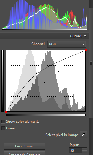 Brightening shadows using the Curves controls—by brightening the left and middle input values.