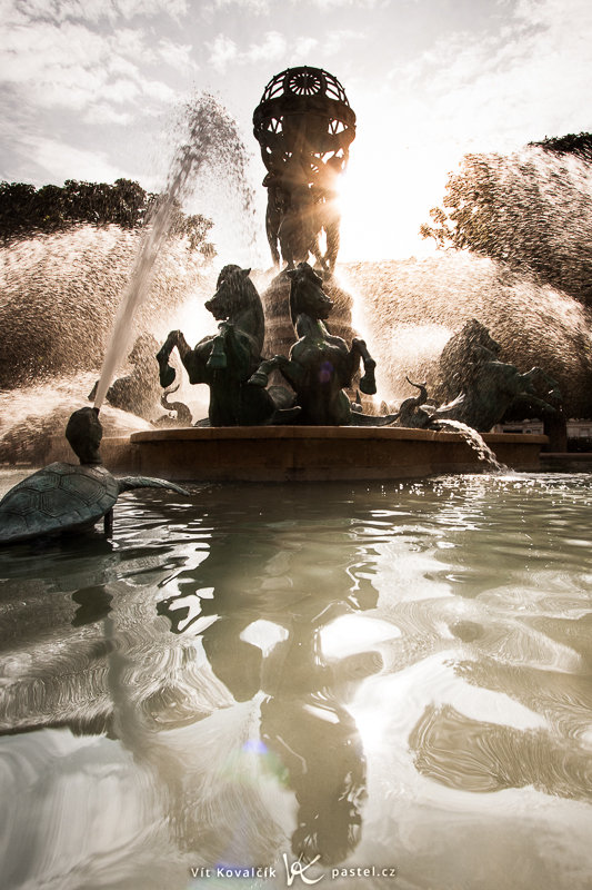A fountain and statue in downtown Paris. The wide angle made it possible to get up close and capture the whole reflection. From a greater distance, the edge of the basin would be a distraction. Canon EOS 40D, Canon EF-S 10–22 mm F3.5–4.5 USM, 1/80 s, F8.0, ISO 100, focus 10 mm (= 16 mm 35mm equivalent)