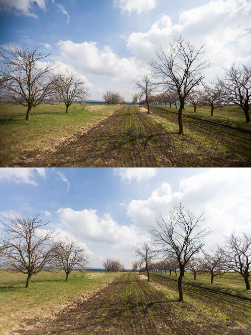 Top: a picture with visible vignetting. Bottom: a corrected version. Canon EOS 5D Mark II, Canon EF 16–35 mm F2.8 II USM, 1/2500 s, F2.8, ISO 100, focus 16 mm