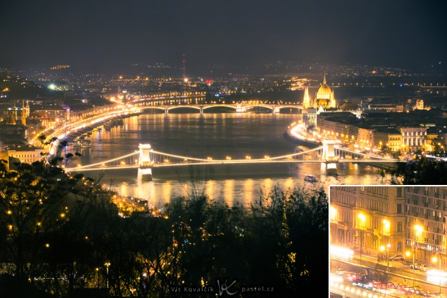 Budapest at night, captured with a tripod-mounted camera. Bottom right: 1:1 closeup to illustrate sharpness. The strong noise you see comes from heavy PC edits and shadow brightening. Canon 5D Mark III, Canon EF 70-200/2.8 IS II, 1.6 s, F5.6, ISO 200, focus 90 mm