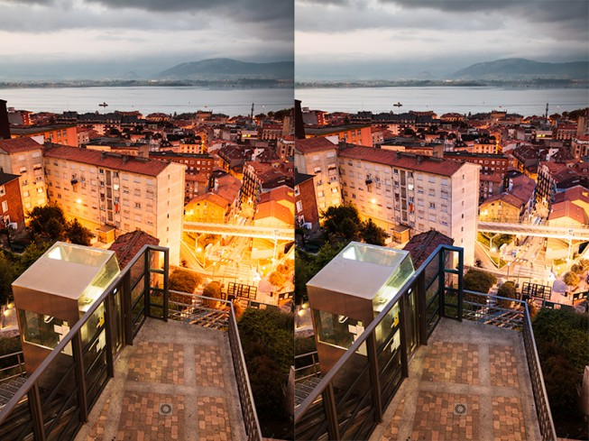 The streets and surroundings of Santander. On the right, the same scene after local edits to strongly-lit areas. Canon 5D Mark II, Canon EF 16-35/2.8 II, 1/5 s, F4, ISO 800, focus 29 mm