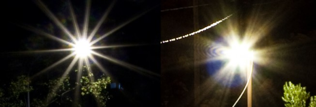 Differing star shapes around light sources. Left lens: Canon EF-S 10-22/3.5-4.5 (6 blades), Right lens: Sigma 18-50/2.8 (7 blades).