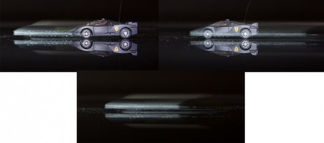 "An illustration of front- and rear-curtain sync. The car was in forward motion, and the exposure was 1/4 second. If the flash fire is timed to the beginning of the exposure, ugly ghosting appears in front of the car. To give more ""natural"" ghosting, behind the car, you need to turn on rear-curtain sync (right). For comparison, a flashless version is at the bottom. Canon 5D Mark III, Canon EF 24-70/2.8, 0.25 s, F5.6, ISO 800, focus 42 mm"