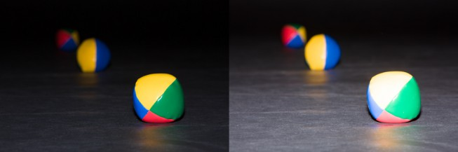 These balls are at distances of 1, 2, and 3 meters from the camera, inside a dark room. When the flash illuminates the first ball correctly, the others are rather dark. Quadrupling the strength illuminates the second ball right, but makes the first one over-lighted.