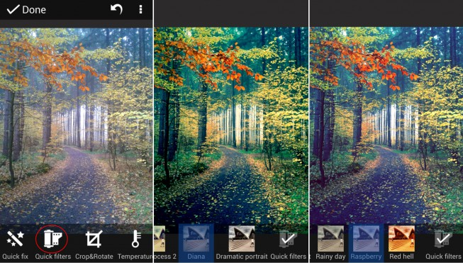 Zoner Photo Studio for Android offers a wide range of edits and quick filters.