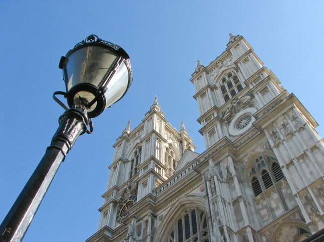 Westminster Abbey with a street lamp.