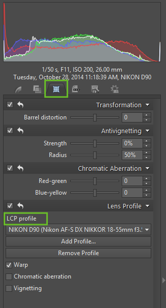 To work with lens correction profiles, use the Lens tab of the Side Panel.