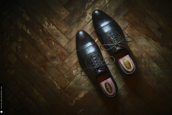 Leather shoes look great on wood.
