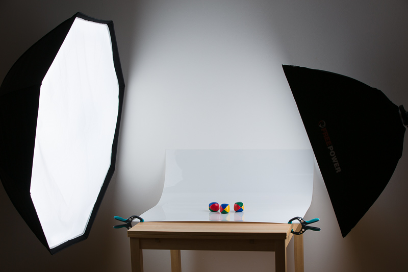 A setup with a plastic sheet.
