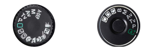 The mode dial on an amateur DSLR (left) contains a wide range of automatic scene modes. Meanwhile pro-class cameras (right) don't have these beginners' modes. But they do have user modes that you can program yourself.