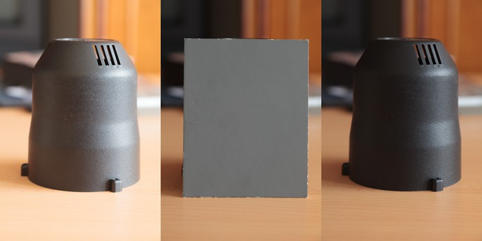 A dark subject, center-weighted metering. On the left: exposing based on the subject (overexposed by 2 EV). On the right: exposing based on a gray card (the subject's dark color is captured faithfully)