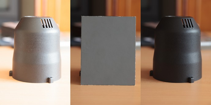 Dark subject, spot metering. On the left: exposing based on the subject (overexposed by 3 EV). On the right: exposing based on a gray card (the subject's dark color is captured faithfully).