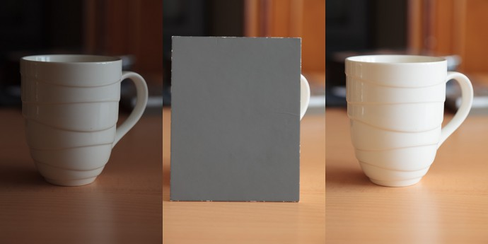 Light subject, spot metering. On the left: exposing based on the subject (underexposed by 2.5 EV). On the right: exposing based on a gray card (the subject's light color is captured faithfully)