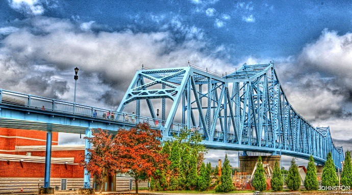 Blue Bridge with Tone Mapping. This is the Blue Bridge in downtown Owensboro with a Tone Mapping effect.