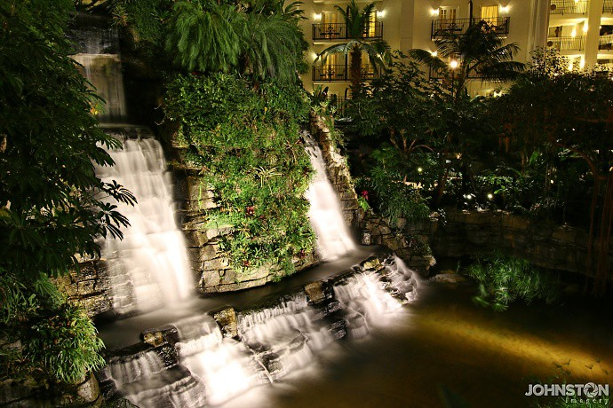 Indoor waterfall at night. This waterfall is inside the Gaylord Opryland Hotel in Nashville, TN