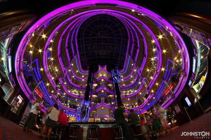 Atrium of cruise ship. Atrium of the Carnival Fantasy (cruise ship), looking up with a fisheye (Rokinon 8mm f/3.5).