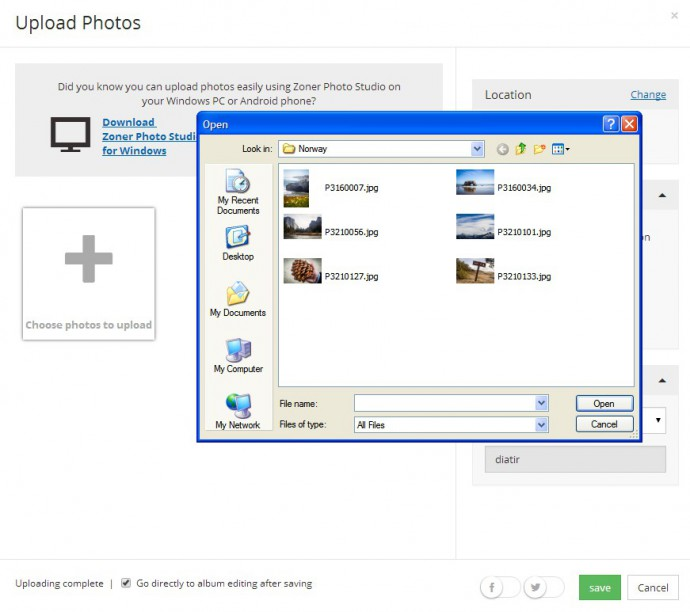 You can pick photos via drag and drop too—from the Windows File Explorer. Browse to your photo folder, pick your photos, and click Open.