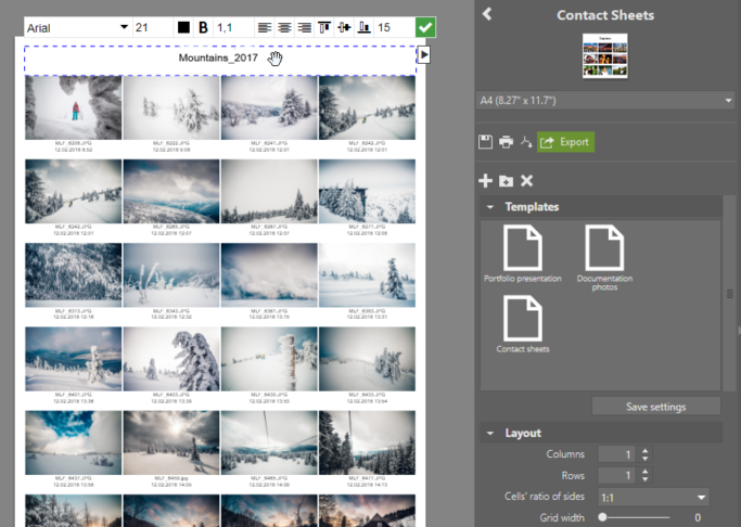 How to Print Multiple Photos on One Page: adjusting captions on contact sheets.