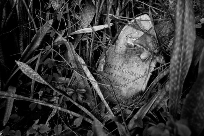 The black-and-white take on the subject makes this photo of a forgotten, sunken tombstone all the gloomier. Author: Vlastní stopou