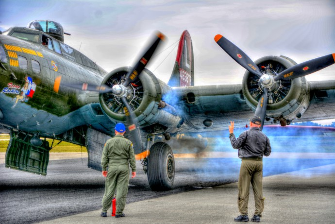 """Texas Raider at engine start"" was taken by photographer Jim Allen with a Nikon D-7100 camera; I used the Quick Edits in Zoner to create over- and under-exposed images and enhanced each with clean-up; then under Create, I used HDR Tone Mapping, with the Contrast setting. Then touched up the results with Quick Edits."
