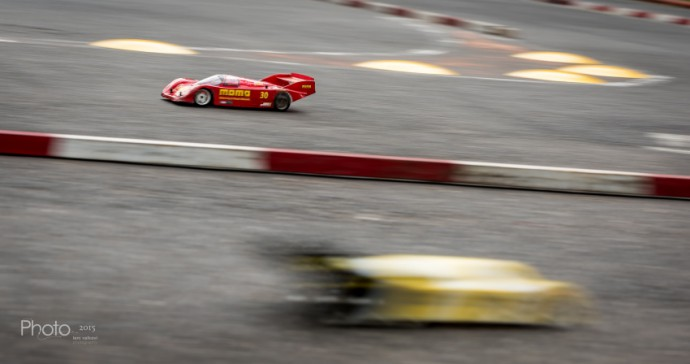 This picture could practically be from an actual car race. But it's just a model car. This is a wonderfully executed example of the technique called panning. Photo: Leni Valkovi