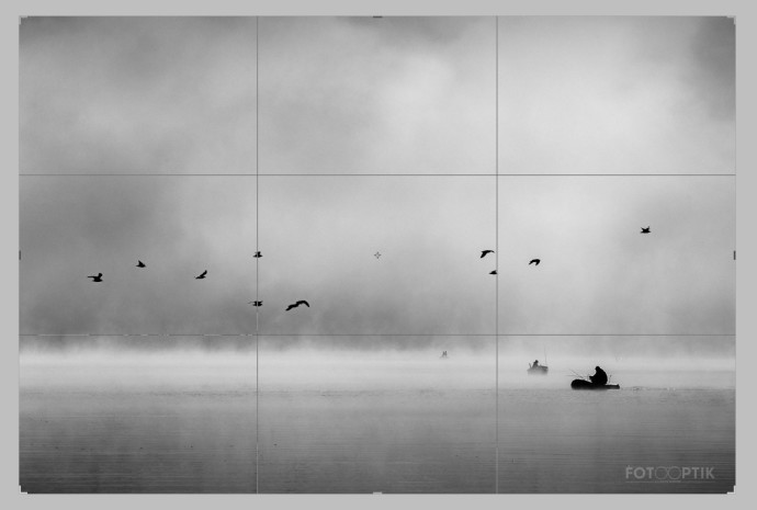 A photo divided into thirds. One third contains water, the next contains the strip with flying birds, and the third contains fog. Photo: Imrich Gonda
