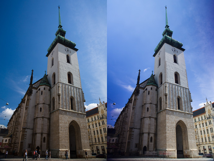 A church with one polarizing filter (left) and with two (right), where passersby were heavily blurred already with an exposure time of 2 seconds. Canon 5D Mark III, Canon EF 24-70/2.8, 1/20 s on left and 2 s on right, F16, ISO 100, focus 25 mm