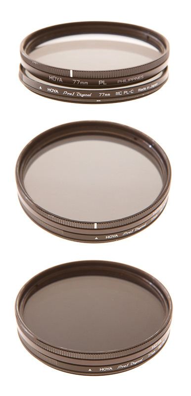 Two polarizing filters, one linear and one circular, used in combination. Middle: lenses lined up (same polarization plane). Bottom: at right angles.