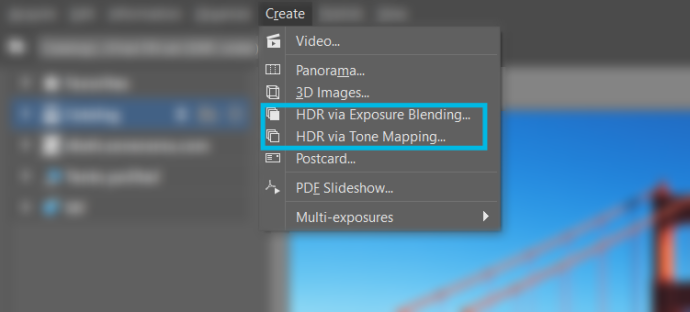 To create HDR images, use the corresponding items in the Create menu.