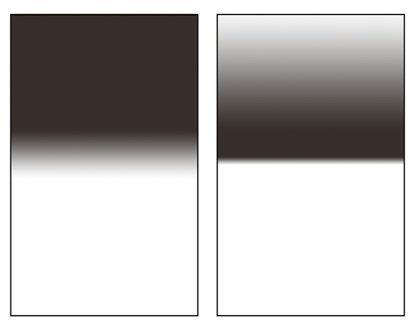Comparison of a gradient and a reverse gradient filter. This picture is for illustration only. Every manufacturer makes slightly different gradient types.
