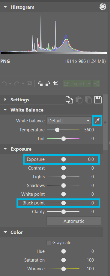 Repairing white balance (the white balance eyedropper) and exposure (the Exposure slider) and adjusting contrast (the Black Point slider) in the Develop section.