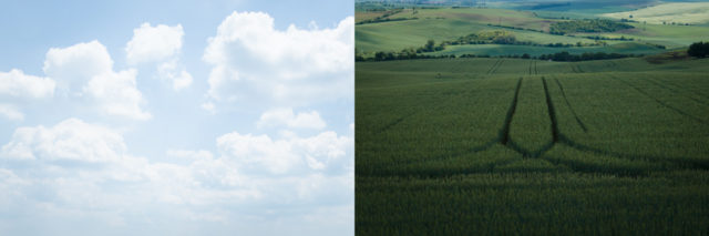 Two different scenes, each with a very small dynamic range individually.
