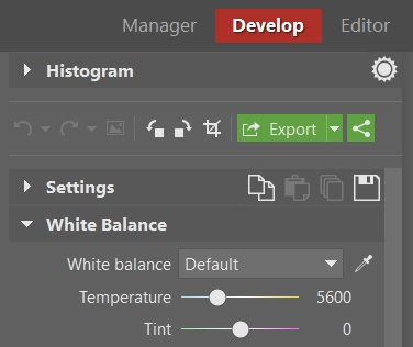 Every RAW converter, including the Develop section in Zoner Photo Studio, lets you precisely white-balance RAW photos while you're developing them.
