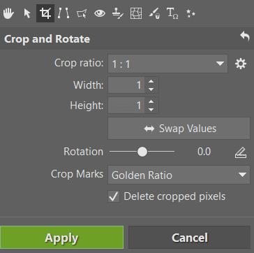Editing Product Photos - setting crop panel
