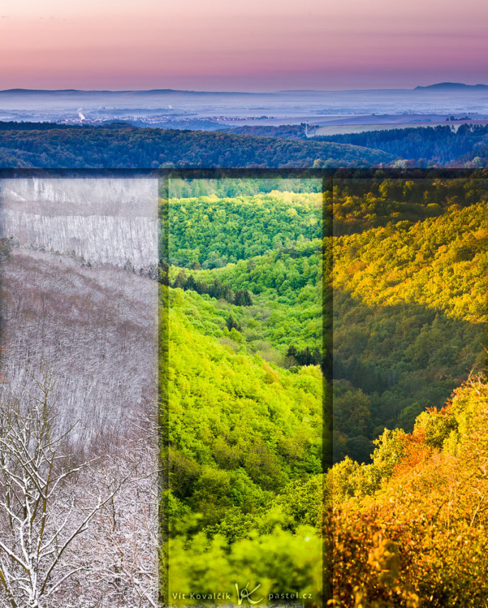 "A picture stitched together from photos of the landscape in different seasons. Unfortunately the differences between them were very sharp, so the picture looks better with small ""transition"" segments."