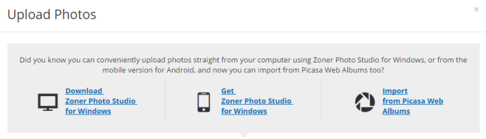 The Upload Photos window has a new option: Import from Picasa Web Albums.