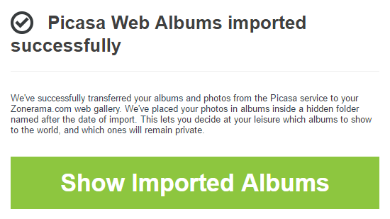 When the import process completes, a notification email is sent out to you automatically.
