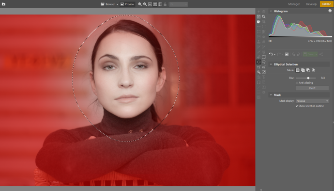 Use a nice high Blur to make the selection fade out slowly into the mask.